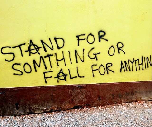 Ada Wanders/Włóczykijada. Writing on the wall in Lagos: Stand for Somthing or Fall for Anything.